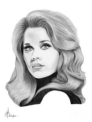 Famous People Drawing - Jane Fonda by Murphy Elliott