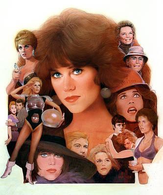 Jane Fonda Tribute Art Print by Bill Mather