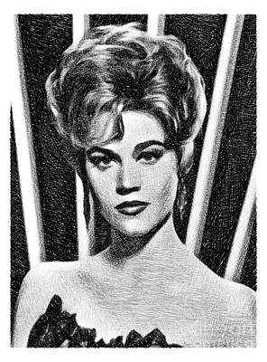 Musicians Drawings - Jane Fonda, Vintage Actress by JS by John Springfield