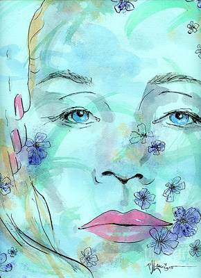 Woman Face Drawing - Jane In Spring by P J Lewis