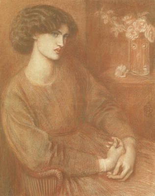 Paste Drawing - Jane Morris by Dante Gabriel Charles Rossetti