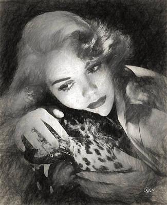 Jane Wyman Drawn Art Print by Quim Abella