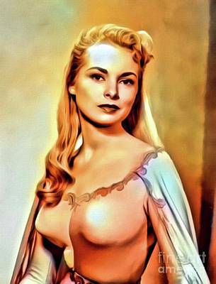 Business Digital Art - Janet Leigh, Vintage Actress. Digita Art By Mb by Mary Bassett