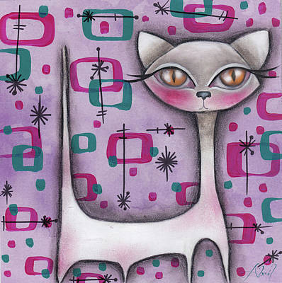 Painting - Janice Cat by Abril Andrade Griffith