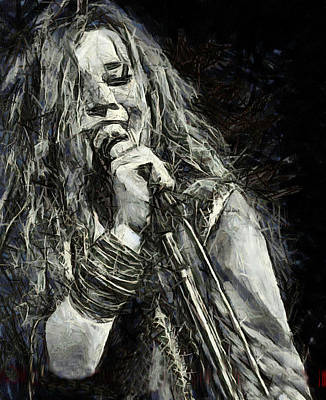60s Drawing - Janis Joplin 1969 by Elizabeth Coats
