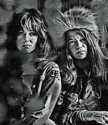 Grace Slick Digital Art - Janis Joplin And Grace Slick Art by Pd