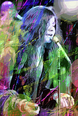 Portraits Royalty-Free and Rights-Managed Images - Janis Joplin Blue by David Lloyd Glover