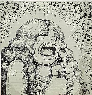 Photograph - Janis Joplin Cartoon by Rob Hans