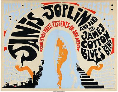 Drawing - Janis Joplin Concert Poster by Allen Beilschmidt