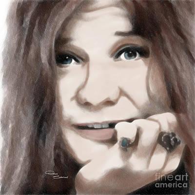 Joplin Drawing - Janis Joplin by Donna  Schellack