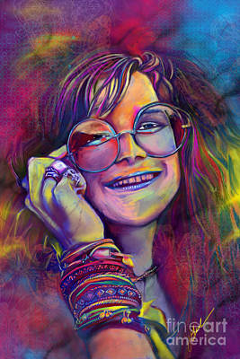 Bobby Digital Art - Janis Joplin by Julianne Black