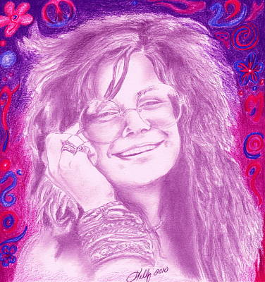 Colored Pencil Portrait Drawing - Janis Joplin by Kathleen Kelly Thompson