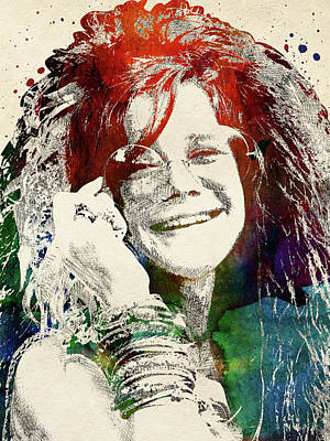 Musicians Royalty Free Images - Janis Joplin portrait Royalty-Free Image by Mihaela Pater