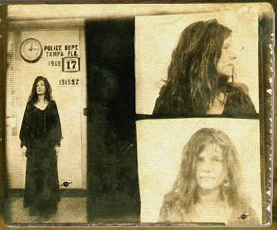Police Art Painting - Janis Joplin Mug Shot 1969 Painting Gold Brown by Tony Rubino