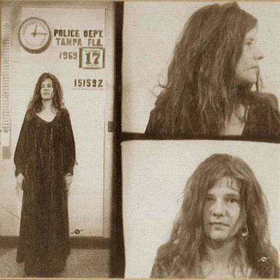 Police Art Painting - Janis Joplin Mug Shot 1969 Painting Sepia by Tony Rubino