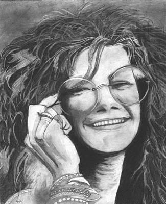 Joplin Drawing - Janis Joplin by Russell Griffenberg