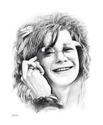 Overdose Digital Art - Janis Joplin Sketch by Scott Wallace
