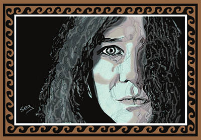 Icon Drawing - Janis Joplin by Suzanne Gee