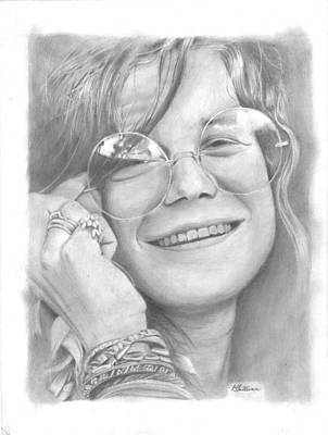 The Grateful Dead Drawing - Janis by Kevin Sullivan