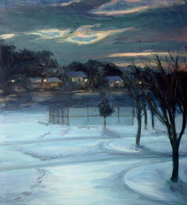 Sports Paintings - January Ball Field by Sarah Yuster