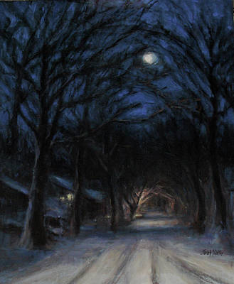 Snowy Night Painting - January Moon by Sarah Yuster