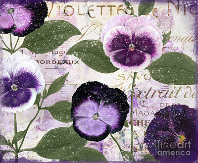 French Script Painting - January Purple Pansies by Mindy Sommers