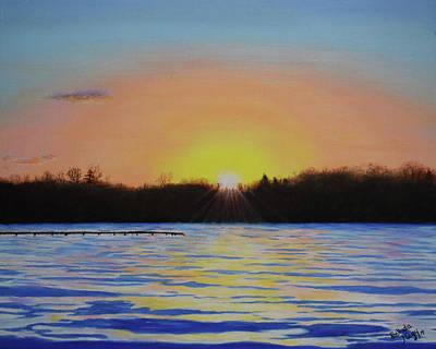 Dramatic Sky Sun Rays Painting - January Sunset At Cedar Lake Lighthouse by Belinda Nagy