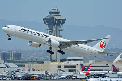 Print featuring the photograph Japan Airlines Boeing 777-346er Ja737j Los Angeles International Airport May 3 2016 by Brian Lockett