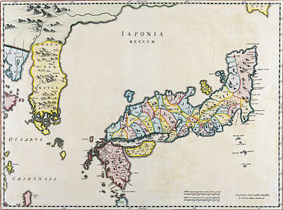 Map Of Japan Photograph - Japan And Korea Map - Netherlands 1655 by Daniel Hagerman