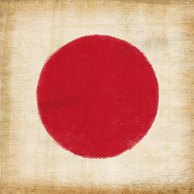 Dirty Linen Painting - Japan Flag by Setsiri Silapasuwanchai
