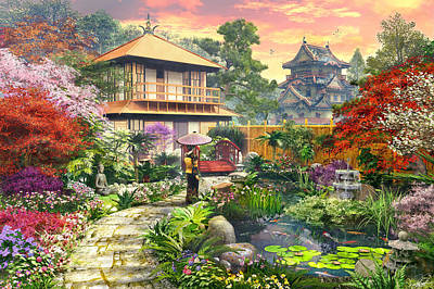 Nostalgic Digital Art - Japan Garden Variant 2 by Dominic Davison