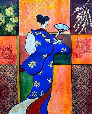 Painting - Japan Geisha Kimono Colorful Decorative Painting Ethnic Gift Decor by Manjiri Kanvinde
