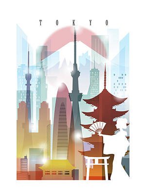 Tokyo Skyline Painting - Japan Tokyo 2 by Unique Drawing