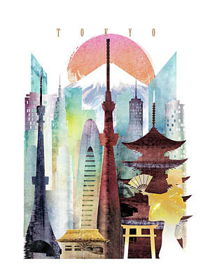 Tokyo Skyline Painting - Japan Tokyo by Unique Drawing