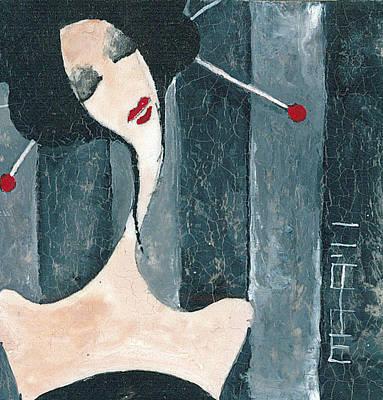 Art Print featuring the painting Japanese Beauty by Maya Manolova