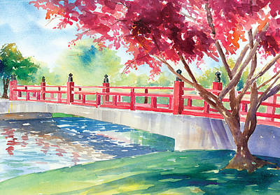 Japanese Bridge Art Print by Denise Schiber