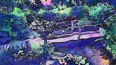 Photograph - Japanese Bridge In Secret Garden. Van Gogh Fantasy by Jenny Rainbow
