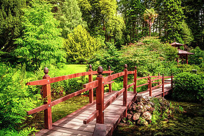 Photograph - Japanese Bridge In The Garden by Debra and Dave Vanderlaan