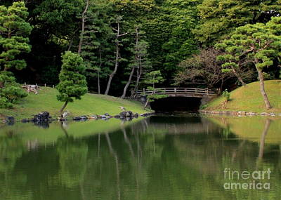 Photograph - Japanese Garden Bridge Reflection by Carol Groenen