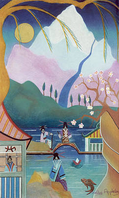 Japanese Bridge Art Print by Sally Appleby