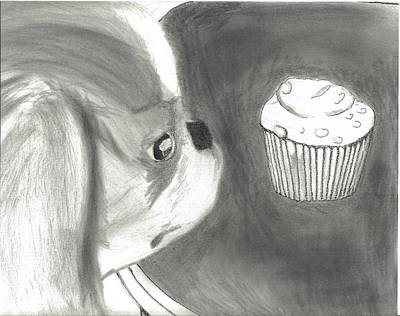 Japanese Chin Puppy Drawing - Japanese Chin And Cupcake  by Joshua Hullender