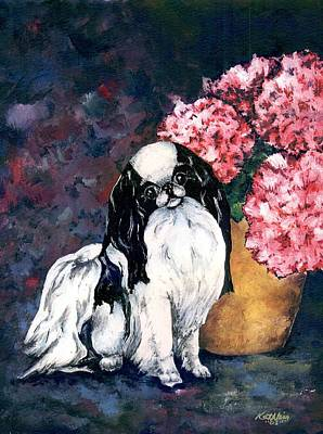 Japanese Chin Puppy Painting - Japanese Chin And Hydrangeas by Kathleen Sepulveda