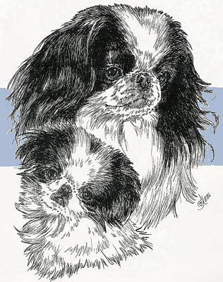 Mixed Media - Japanese Chin And Pup by Barbara Keith