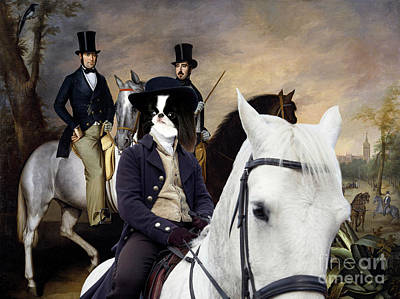 Painting - Japanese Chin Art Canvas Print - The Count Of Pinohermoso On Horseback by Sandra Sij