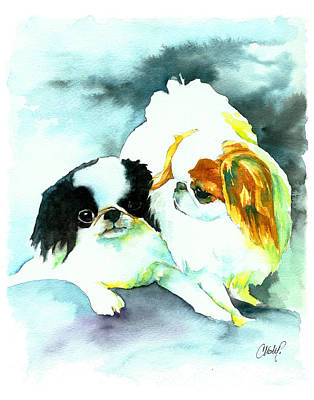 Chin Painting - Japanese Chin Dog by Christy  Freeman