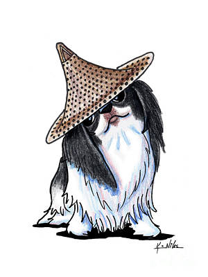 Straw Hat Drawing - Japanese Chin  by Kim Niles