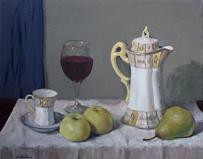 Japanese Coffeepot, Teacup, Wine Glass, Apples, Pear Original