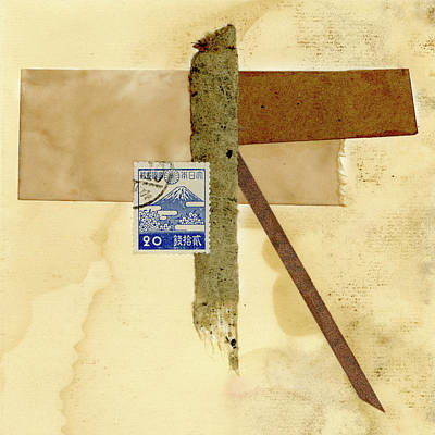 Mixed Media - Japanese Collage With Fujiyama Postage Stamp by Carol Leigh