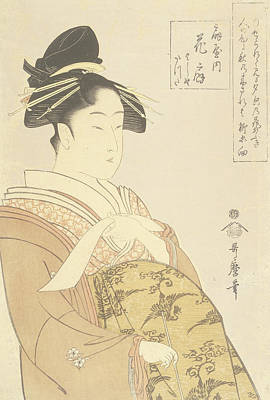 Colored Woman Art Drawing - Japanese Courtesan by Kitagawa Utamaro