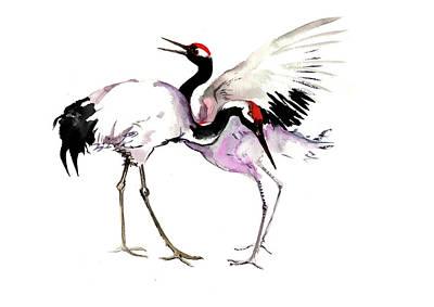 Painting - Japanese Cranes by Suren Nersisyan